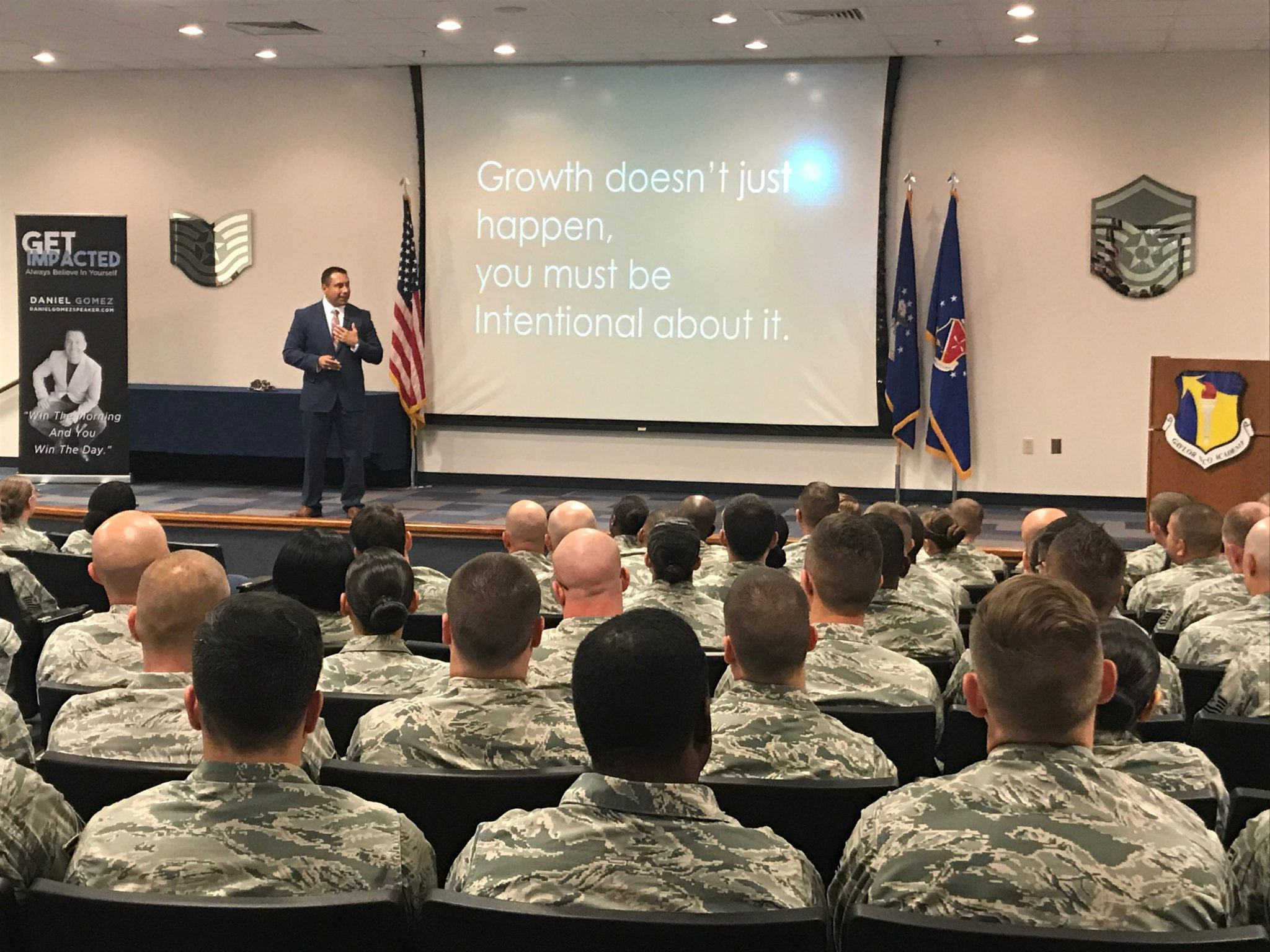 Image of daniel gomez speaking to US air force