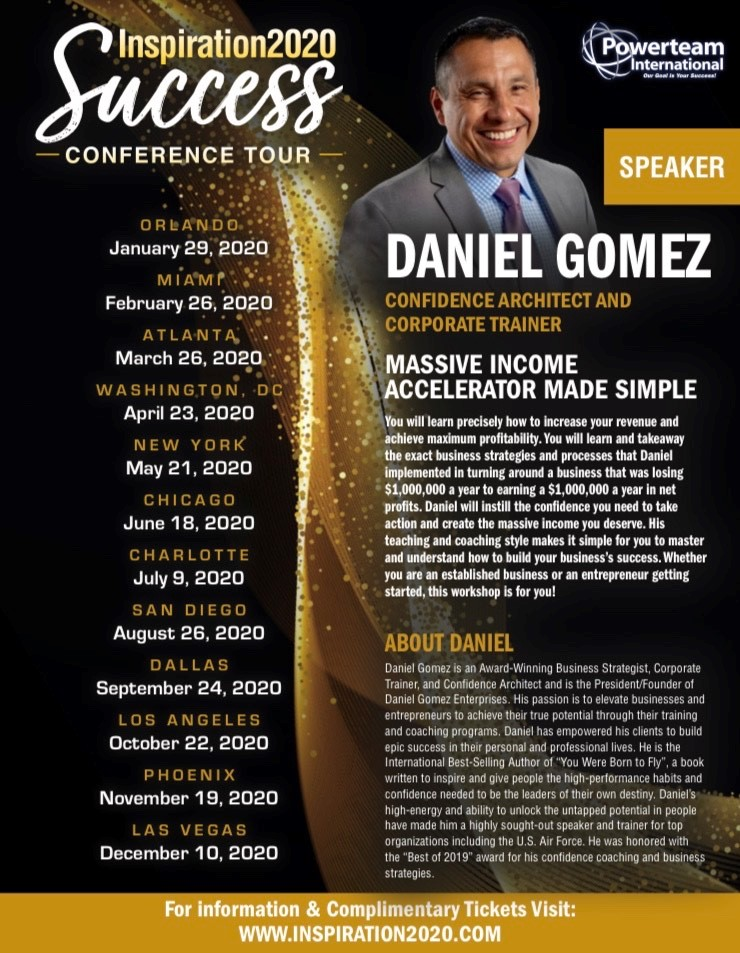 Image of Daniel Gomez Enterprises Inspires Corporate Trainer, Motivational Keynote Speaker, Confidence Coach, Inspiration 2020